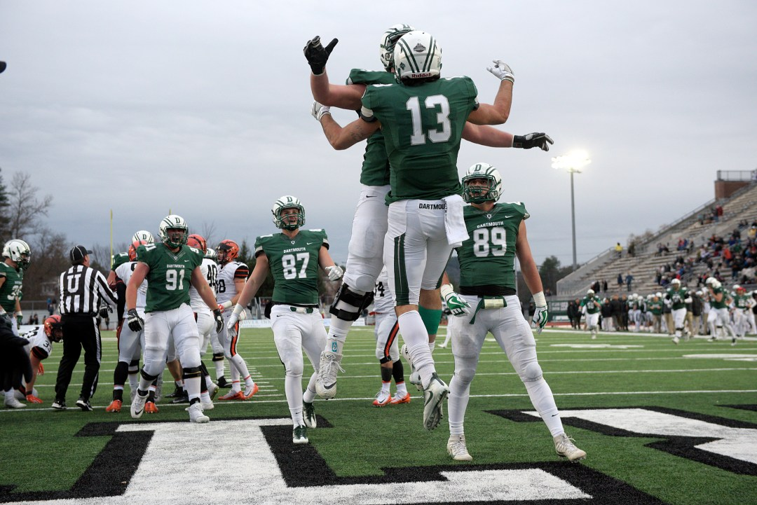 Dartmouth quarterback Jared Gerbino celebrates after scoring a touchdown with teammate Jack Anderson during their game with Princeton in Hanover, N.H., Saturday, Nov. 18, 2017. Dartmouth won 54 - 44. (Valley News - James M. Patterson) Copyright Valley News. May not be reprinted or used online without permission. Send requests to permission@vnews.com.