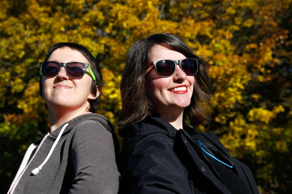 Promotional photos of Maggie Cassidy and Amanda Newman for UV Index in West Lebanon, N.H., on Oct. 26, 2018. (Valley News - Geoff Hansen) Copyright Valley News. May not be reprinted or used online without permission. Send requests to permission@vnews.com.