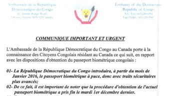 Communiqué ambassade RDC-Canada: Passeport biométrique à puce
