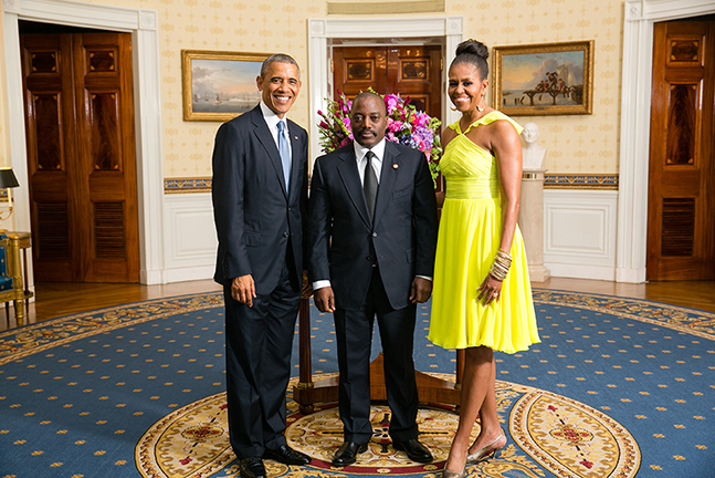 President Barack Obama and First Lady Michelle Obama greet His Excellency Joseph Kabila Kabange, President of the Democratic Republic of the Congo, in the Blue Room during a U.S.-Africa Leaders Summit dinner at the White House, Aug. 5, 2014. (Official White House Photo by Amanda Lucidon)