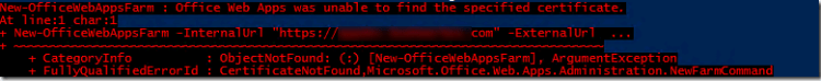 Office Web Apps was unable to find the specified certificate