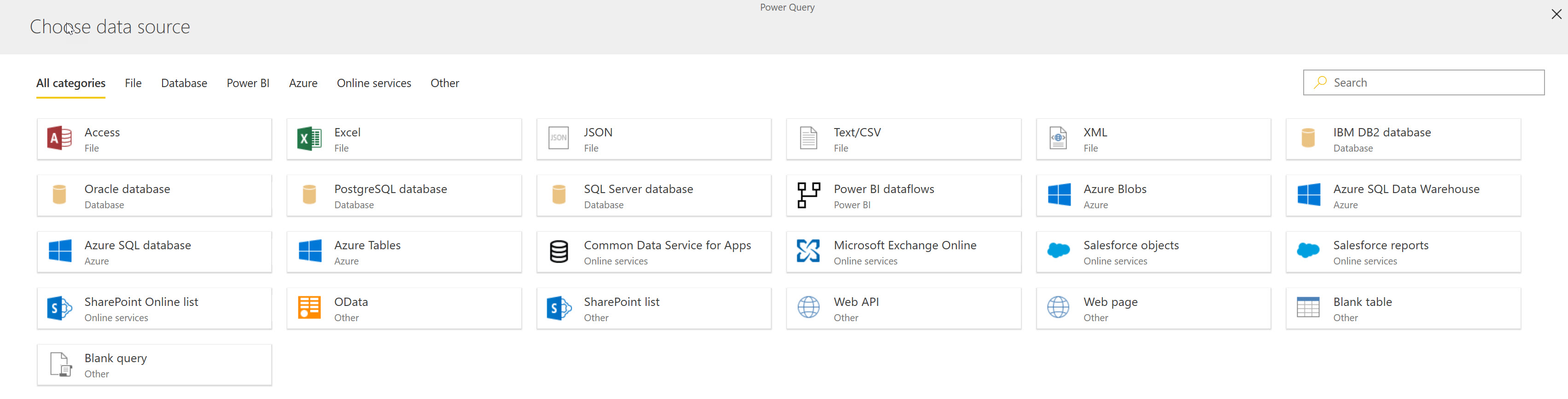 Data sources supported in dataflows - Nov 2018