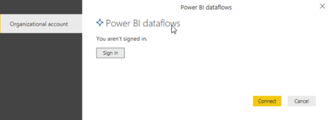 Signing in to a Power BI dataflow