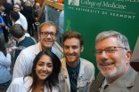 Students and Senior Associate Dean for Medical Education Bill Jeffries celebrate at the selfie station.