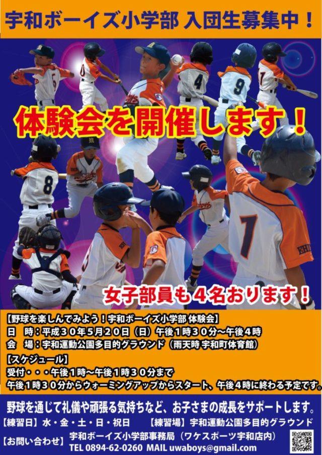 野球を楽しんでみよう!宇和ボーイズ小学部 体験会