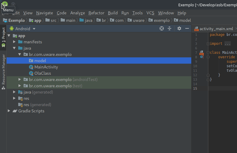 Como adicionar um package no Android Studio