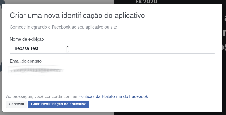 Colocar o nome do aplicativo no facebook for developers