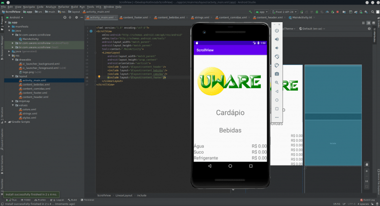 Como usar o ScrollView no Android Studio