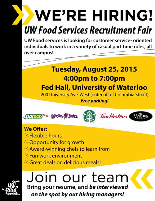 UW Food Services Recruitment Fair UW Food Services