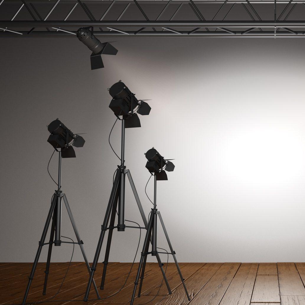 Spotlight. 3D. Spot Lit Wall