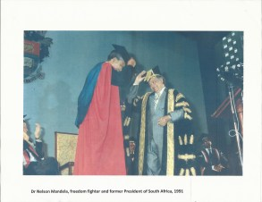 Nelson Mandela receiving his honorary doctorate from the UWI in 1991. Photo courtesy of Mona Marketing and Communications Office