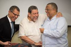 SALISES director Prof Brian Meeks (left) with Prime Minister Ralph Gonsalves (centre) and Finance Minister Peter Phillips. (SALISES conference photo)