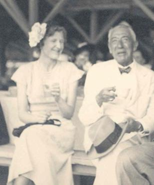 Sir James Irvine and daughter during a visit to the then University College of the West Indies (UCWI). Detail from a photo in the UWI Mona Main Library Historical Photo collection.