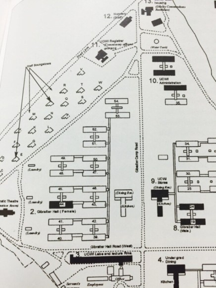 Detail from plan showing use of old Gibraltar Camp buildings by the UCWI (Suzanne Francis-Brown, Mona: Past & Present)