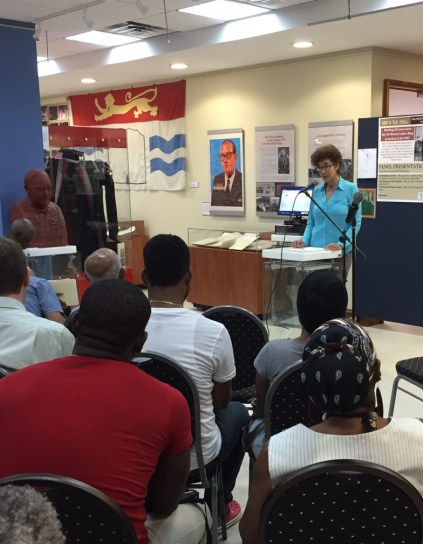 Curator, Dr Suzanne Francis-Brown at launch of UWI & the 1960s