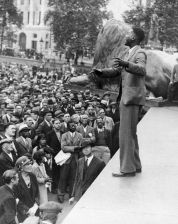 CLR James speaking on Ethopia at Trafalgar Square, London, UK in 1935. Getty Images