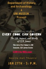 Poster for Jan 27 showing of CLR James documentary