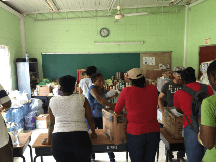 Relief Supplies being sorted at The UWI Open Campus, Dominica for distribution to staff and students
