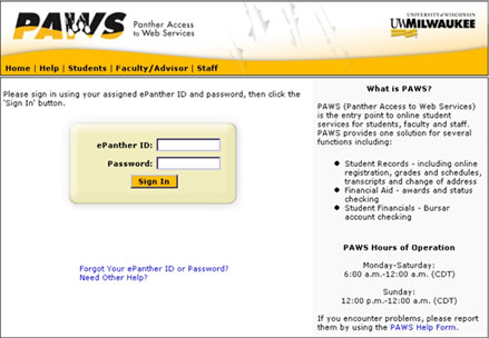 paws.uwm.edu sign in