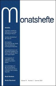 Monatshefte Vol. 111.2 cover