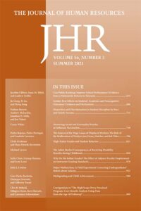 A picture of the cover of Journal of Human Resources volume 56 number 4, with a link to the journal's website.