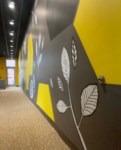 New mural in yellowjacket union cafeteria