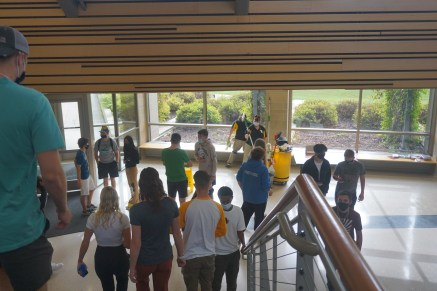"""Freshman students explore the Swenson building during the """"Day of Welcome."""""""