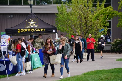 Students connected with nearly 60 employers and community organizations on the YU plaza during 'Jacket Fest hosted by career services. Photo by Pratham Mundra.