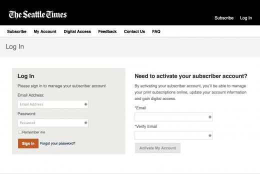 Seattle Times activate subscription