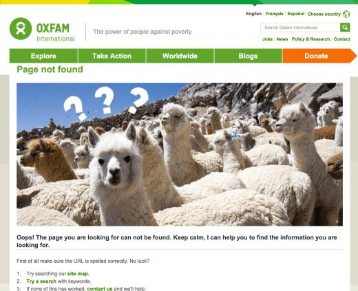 Screencapture - OxFam 404 page