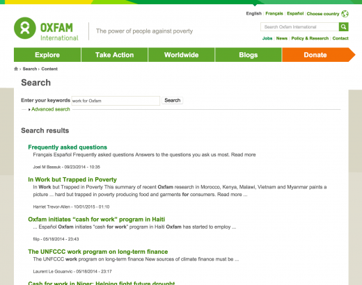 Oxfam - search engine results page