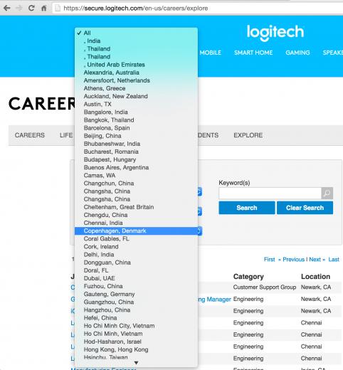 Logitech jobs page location dropdown