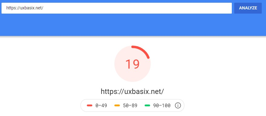Google PageSpeed Insights Score Before Optimisation