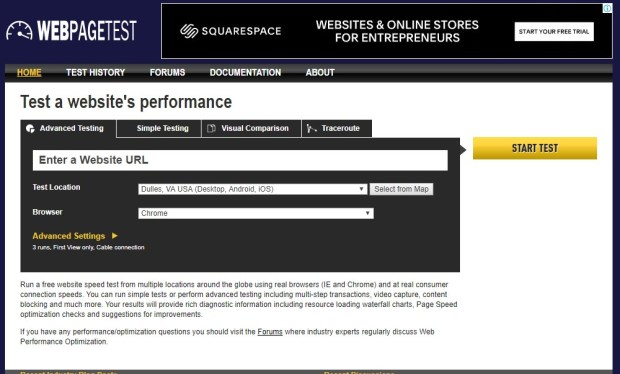 Tools - webpagetest