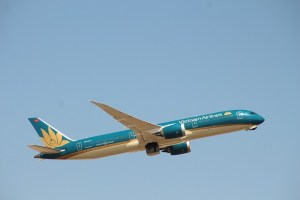 A Vietnam Airlines jet in the air