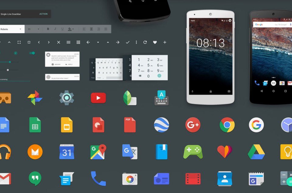 Android M GUI - được thiết kế bởi Sketch - 100% Vector và Editable