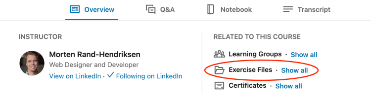 Visual representation of where the exercise files link is on LinkedIn Learning course pages