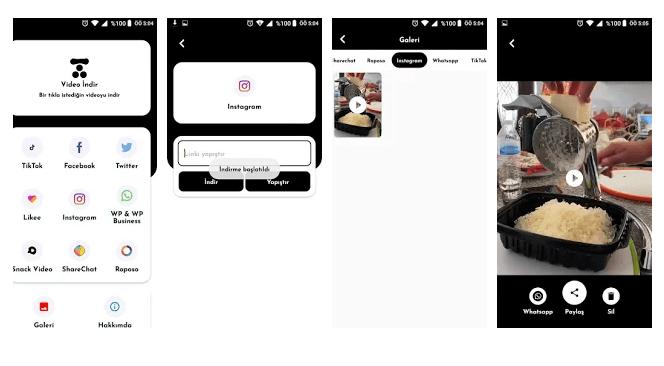 video indir uygulamasi