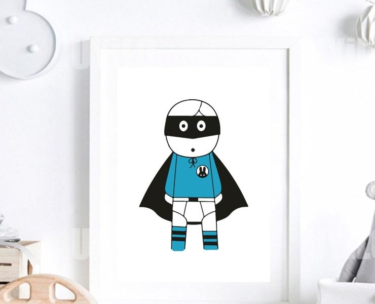 Scandinavian Nursery Decor, Super Hero in Blue Color mo_