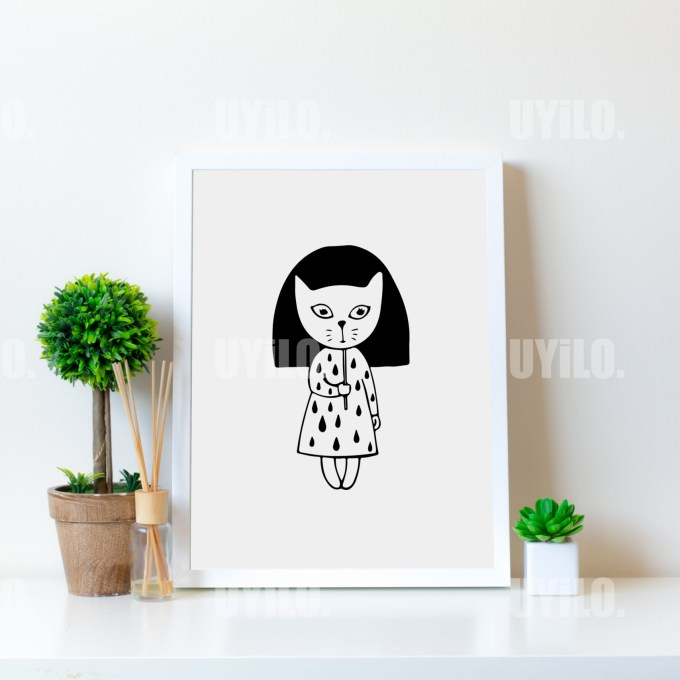 Cat, Kids Print, Wall Decoration, Poster, Digital Download