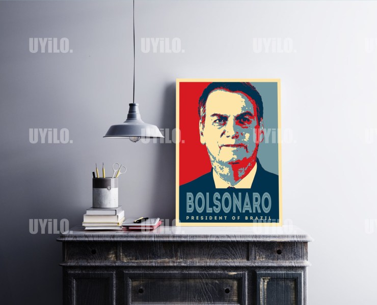Jair Bolsonaro in the style of the iconic Barack Obama Hope Poster