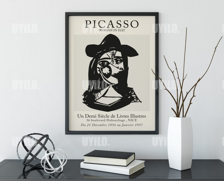 Picasso Exhibition Woman In Hat Wall Art Print