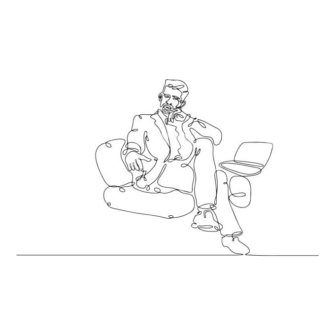 Line Drawing Man thinking