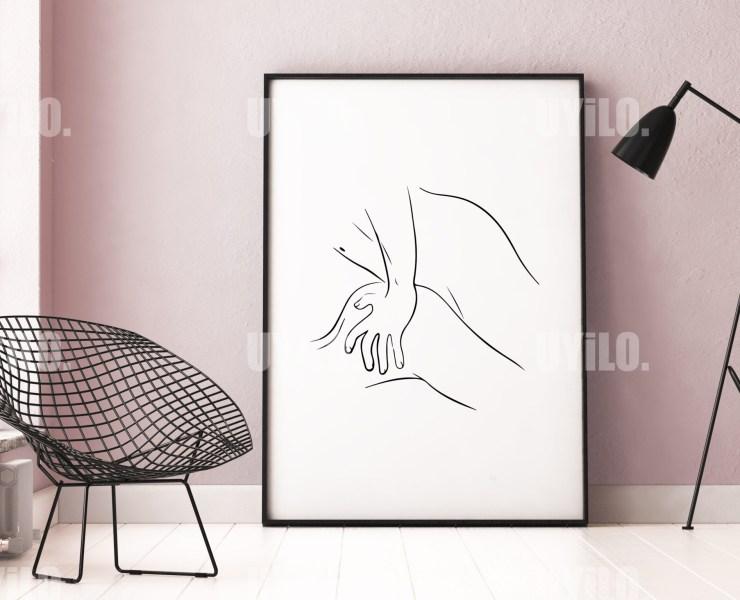 Lovers, Erotic Wall Art, Line Art, Wall Decoration, Digital, Poster