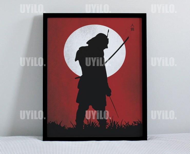 Red Samurai, Poster Print, Wall Decoration, Digital