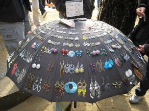 Using an umbrella for earrings