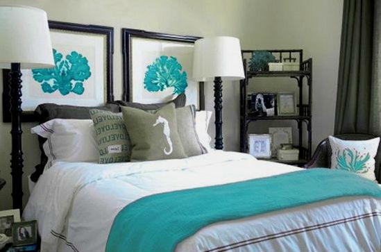 дизайн спальни в бирюзовых тонах фото 2