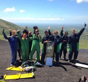 Volcano Boarding için ilk kez tepeye eriştiğimizde çocuklar gibi şendik.