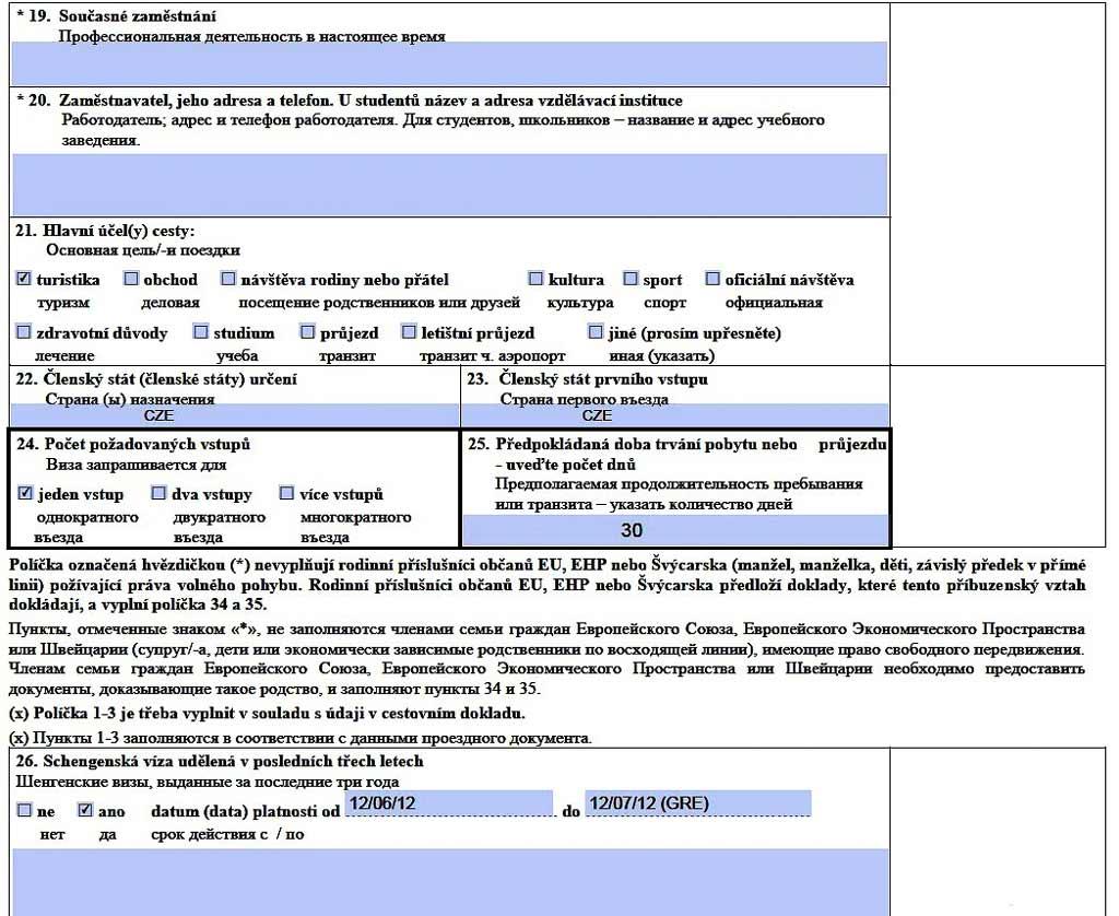 образец заполнения анкеты в чехию на детей