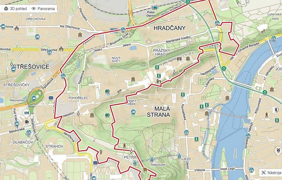 Градчаны в Праге на карте